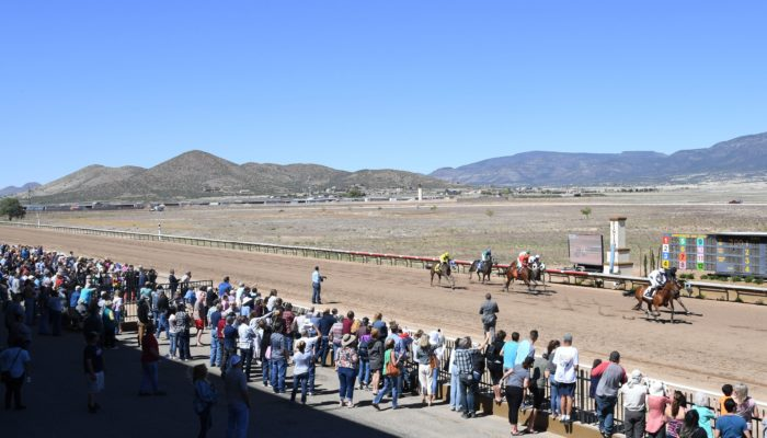 Outdoor photo of fans standing next to a rack track watching horses go by.